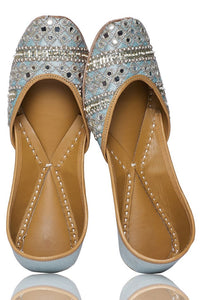 Shop pale blue sequin, bead and mirror embroidery jutti online in USA. Grab beautiful designer footwear and ethnic juttis in USA from Pure Elegance Indian fashion store in USA. Enhance your ethnic attires with exquisite accessories available on our online store.-full view