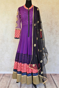Buy purple embroidered Anarkali suit with churidaar online in USA and dupatta from Pure Elegance. Choose from a range of exclusive Indian designer suits, wedding dresses, Anarkali suits in beautiful styles and designs from our Indian fashion store in USA and flaunt your tasteful sartorial choices on special occasions.-full view