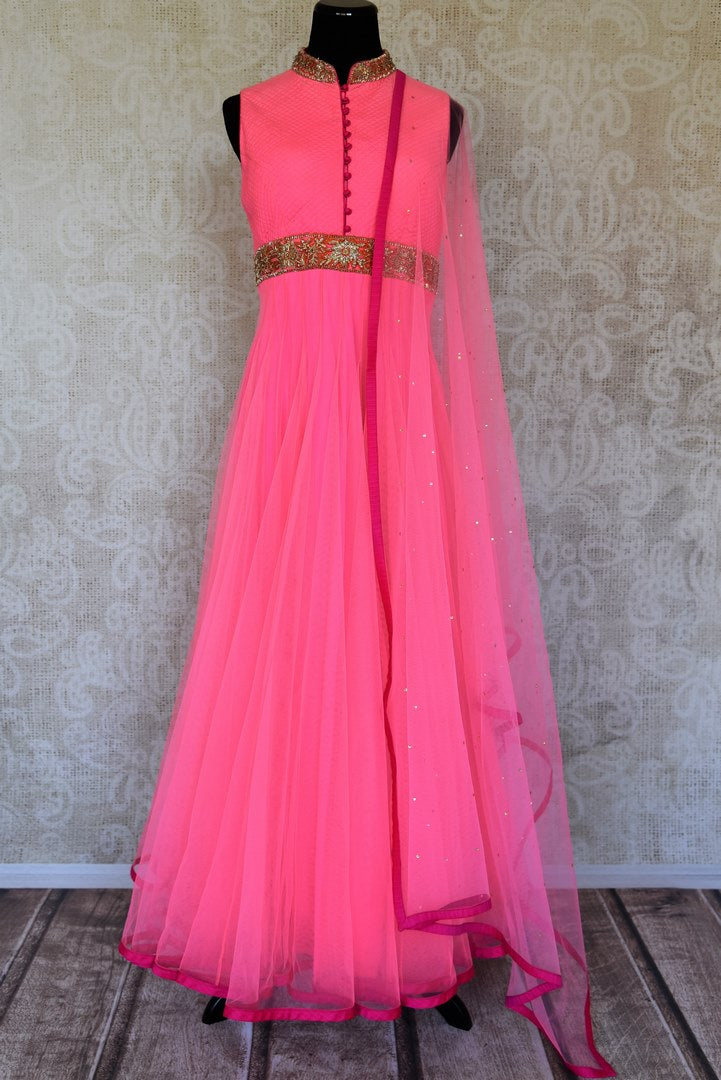 Buy pink embroidered net sleeveless Anarkali suit online in USA with dupatta from Pure Elegance. Choose from a range of exclusive Indian designer suits, wedding dresses, Anarkali suits in beautiful styles and designs from our Indian fashion store in USA and flaunt your tasteful sartorial choices on special occasions.-full view