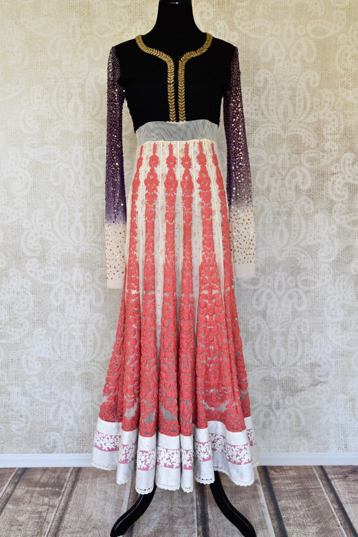 Shop black white and peach embroidered net Anarkali online in USA from Pure Elegance. Choose from a range of exclusive Indian designer suits, wedding dresses, Anarkali suits in beautiful styles and designs from our Indian fashion store in USA and flaunt your tasteful sartorial choices on special occasions.-full view