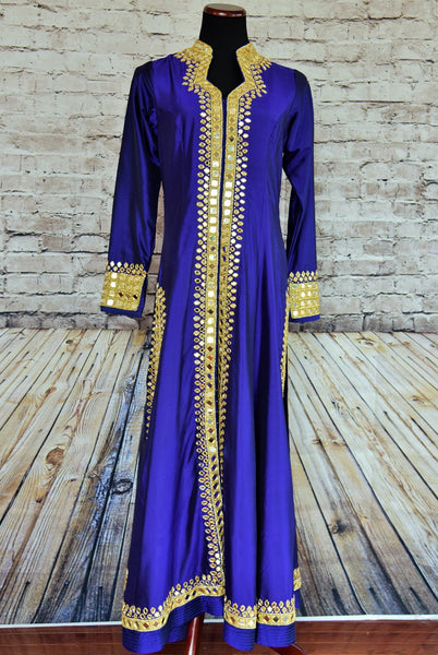 500873 Royal Blue Suit with Gold and Mirror Embroidery