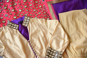 Buy beige and red silk suit online in USA with purple dupatta and mirror work from Pure Elegance. Choose from a range of exclusive Indian designer suits, wedding dresses, Anarkali suits in beautiful styles and designs from our Indian fashion store in USA and flaunt your tasteful sartorial choices on special occasions.-details