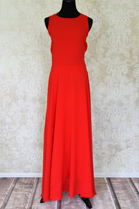Shop elegant red sleeveless georgette dress online in USA. Shop the latest Indian women clothing and designer dresses for weddings and special occasions from Pure Elegance Indian clothing store in USA.-full view