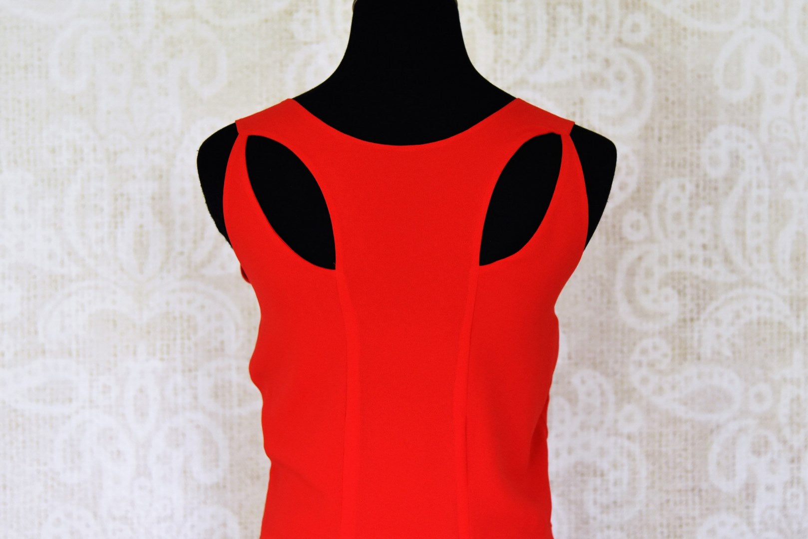 Shop elegant red sleeveless georgette dress online in USA. Shop the latest Indian women clothing and designer dresses for weddings and special occasions from Pure Elegance Indian clothing store in USA-back