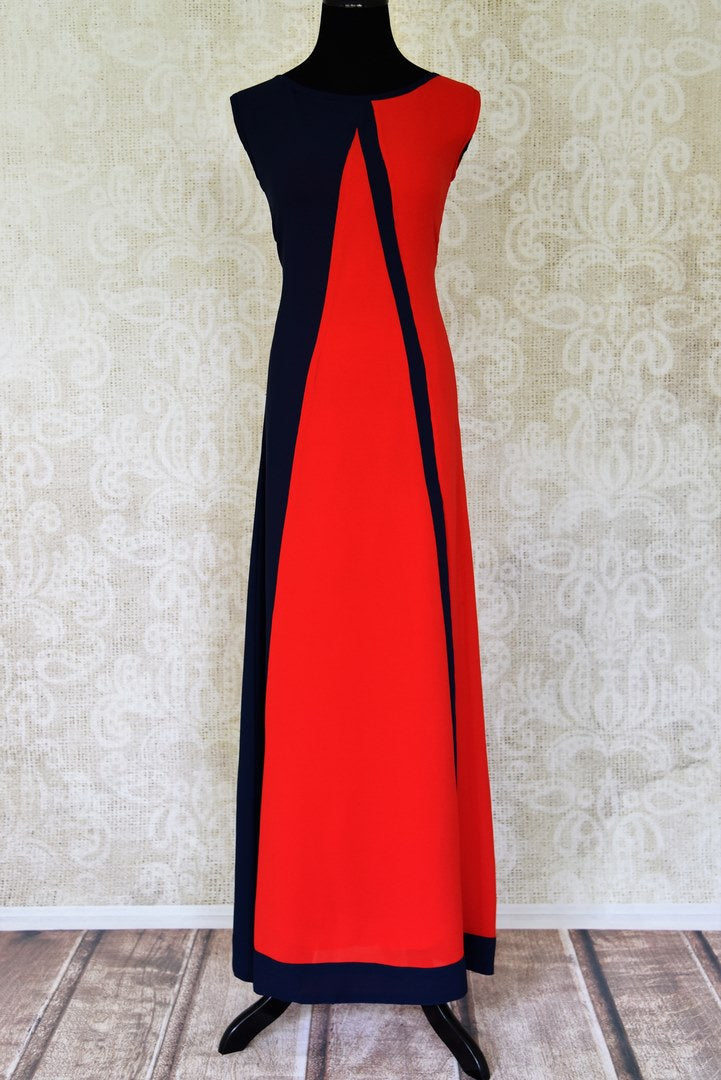 Buy red and navy blue sleeveless georgette maxi dress online in USA. Shop the latest Indian women clothing and designer dresses for weddings and special occasions from Pure Elegance Indian clothing store in USA.-full view
