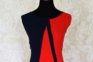 Buy red and navy blue sleeveless georgette maxi dress online in USA. Shop the latest Indian women clothing and designer dresses for weddings and special occasions from Pure Elegance Indian clothing store in USA.-front