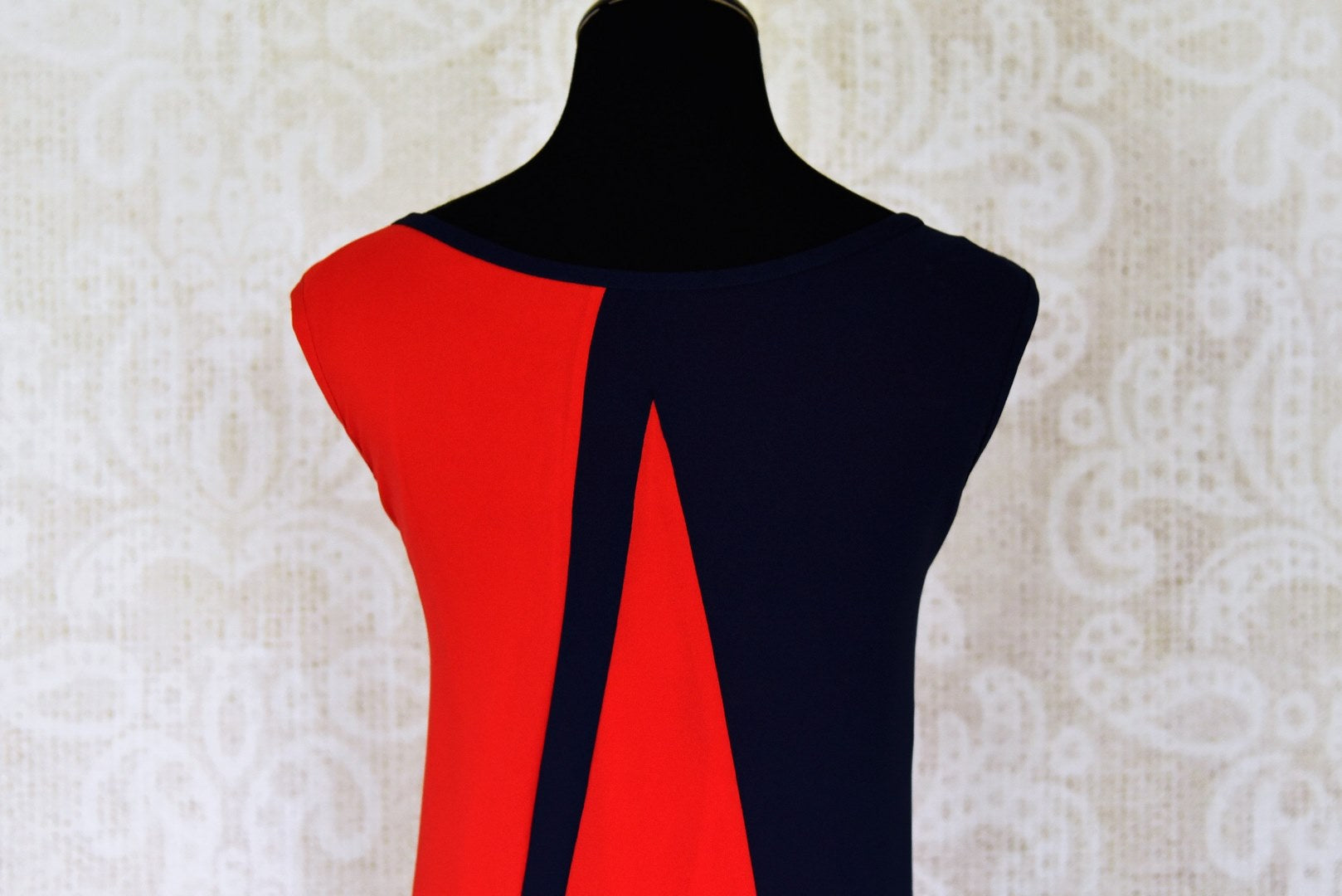 Buy red and navy blue sleeveless georgette maxi dress online in USA. Shop the latest Indian women clothing and designer dresses for weddings and special occasions from Pure Elegance Indian clothing store in USA.-back