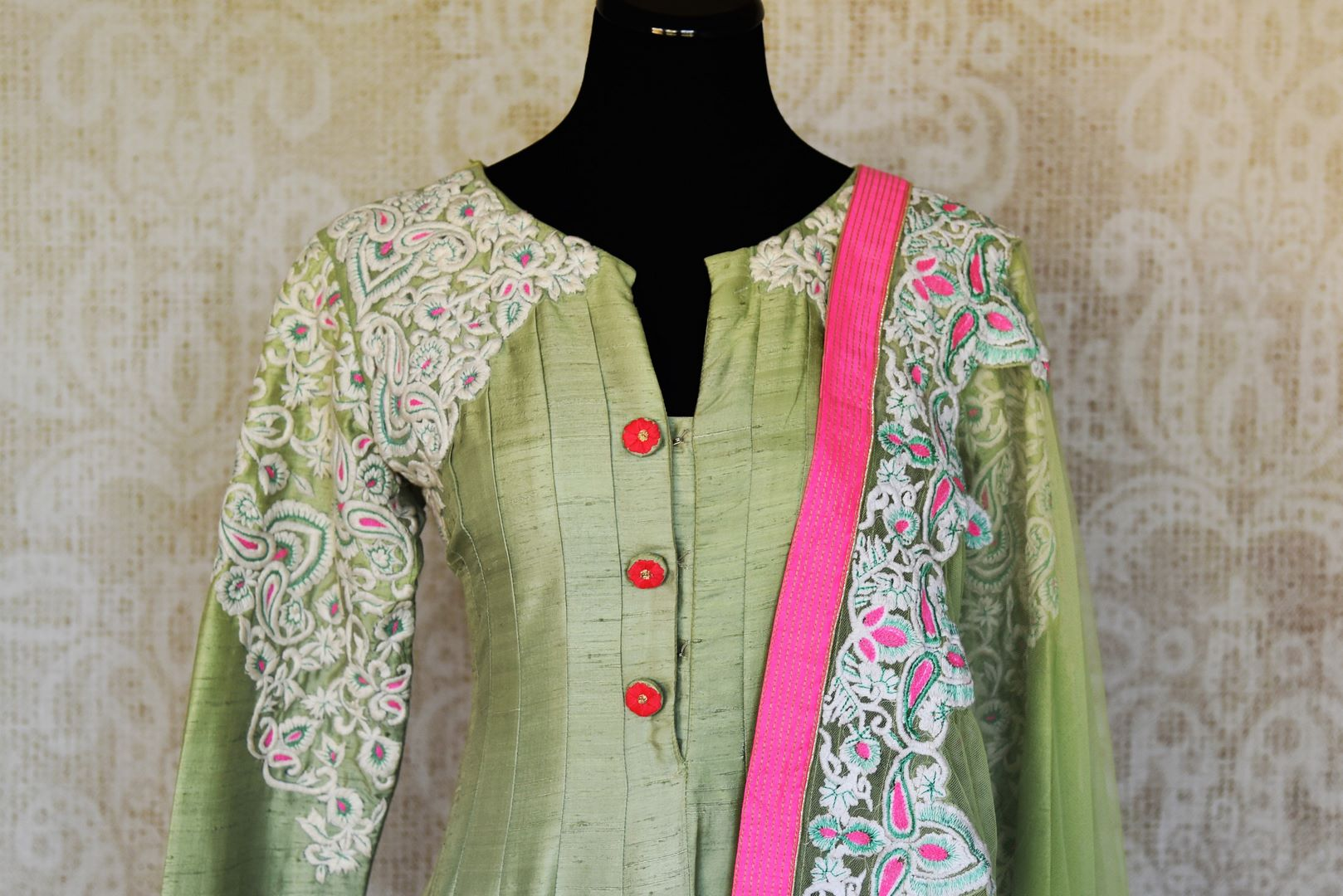 Buy pista green embroidered silk Anarkali suit online in USA with dupatta from Pure Elegance. Choose from a range of exclusive Indian designer suits, wedding dresses, Anarkali suits in beautiful styles and designs from our Indian fashion store in USA and flaunt your tasteful sartorial choices on special occasions.-front