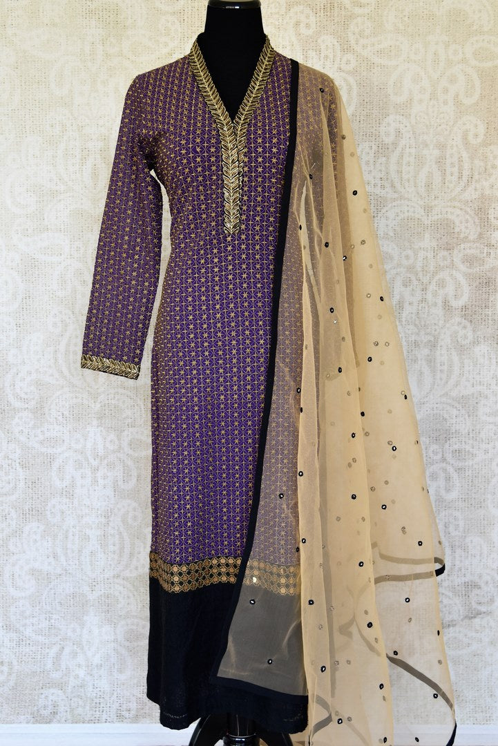 Buy traditional purple and black salwar suit online in USA with gold work from Pure Elegance. Choose from a range of exclusive Indian designer suits, wedding dresses, Anarkali suits in beautiful styles and designs from our Indian fashion store in USA and flaunt your tasteful sartorial choices on special occasions.-full view