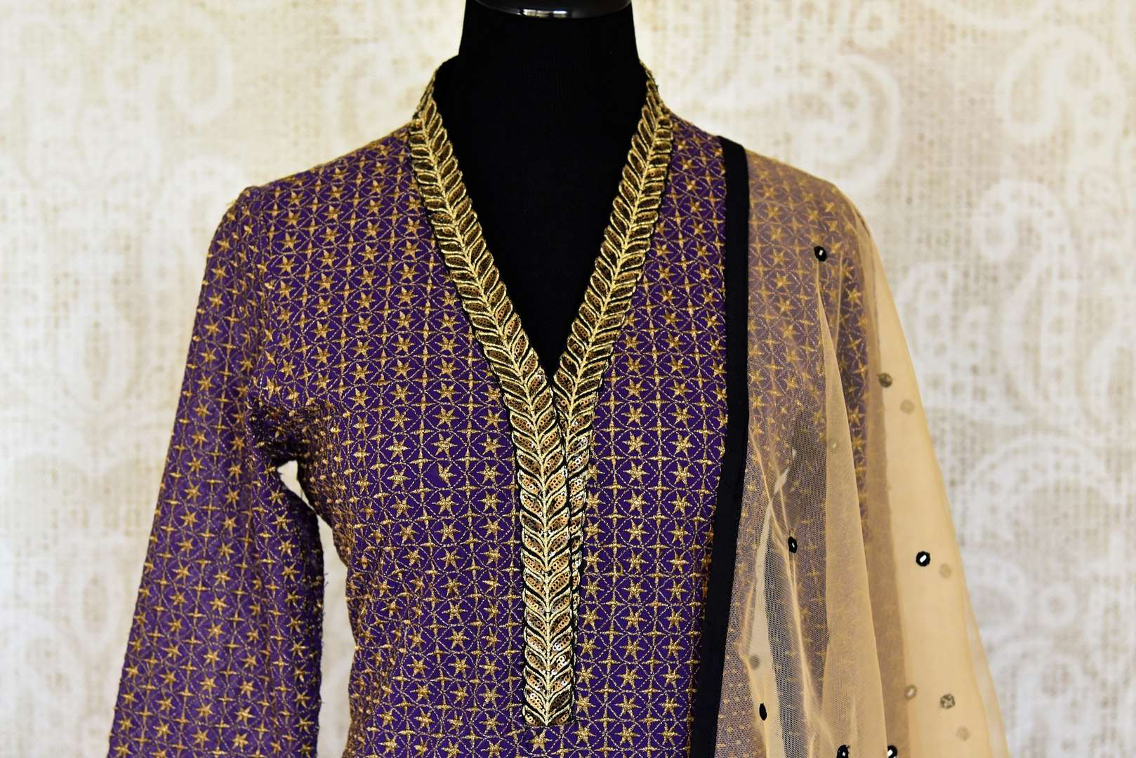 Buy traditional purple and black salwar suit online in USA with gold work from Pure Elegance. Choose from a range of exclusive Indian designer suits, wedding dresses, Anarkali suits in beautiful styles and designs from our Indian fashion store in USA and flaunt your tasteful sartorial choices on special occasions.-front