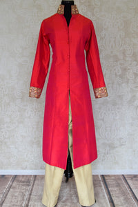 Shop red embroidered silk kurta with beige silk pants online in USA from Pure Elegance. Choose from a range of exclusive Indian designer suits, wedding dresses, Anarkali suits in beautiful styles and designs from our Indian fashion store in USA and flaunt your tasteful sartorial choices on special occasions.-full view