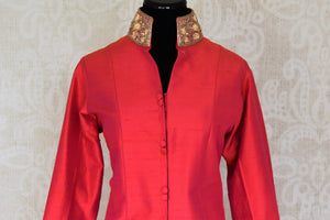 Shop red embroidered silk kurta with beige silk pants online in USA from Pure Elegance. Choose from a range of exclusive Indian designer suits, wedding dresses, Anarkali suits in beautiful styles and designs from our Indian fashion store in USA and flaunt your tasteful sartorial choices on special occasions.-front