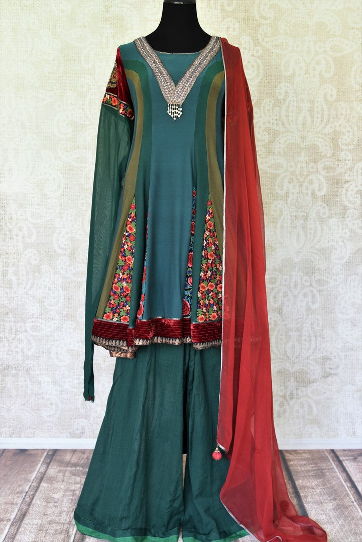 Buy green hand embroidery georgette sharara suit online in USA with dupatta from Pure Elegance Indian fashion store in USA. Make a stylish fashion statement this summer with a range of exquisite Indian dresses available online and at our clothing store in USA. Shop now.-full view