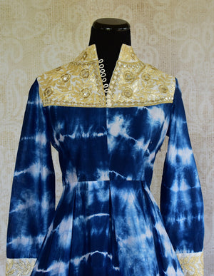 500991-suit-long-sleeve-tie-dye-blue-yoke-button-gold-embroidery-dhoti-top-view