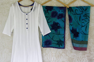 Buy white and blue printed salwar suit online in USA with printed dupatta from Pure Elegance Indian fashion store in USA. Make a stylish fashion statement this summer with a range of exquisite Indian dresses available online and at our clothing store in USA. Shop now.-front