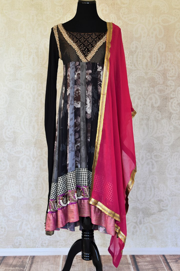 Shop black cotton georgette suit online in USA with pink dupatta from Pure Elegance. Choose from a range of exclusive Indian designer suits, wedding dresses, Anarkali suits in beautiful styles and designs from our Indian fashion store in USA and flaunt your tasteful sartorial choices on special occasions.-full view