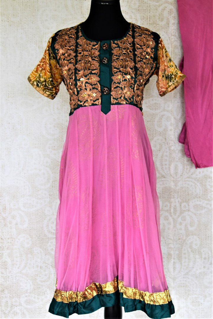 Shop beautiful pink Anarkali suit online in USA with embroidered bodice. Shop designer Indian suits, Anarkalis, palazzo suits, salwar suits from Pure Elegance Indian fashion store in USA.-full view