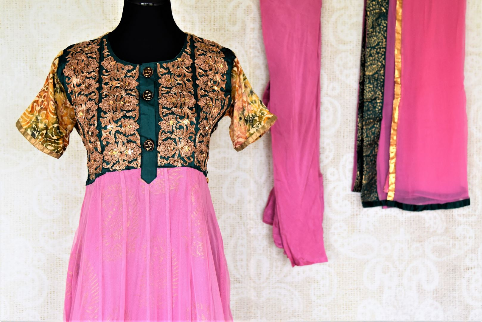Shop beautiful pink Anarkali suit online in USA with embroidered bodice. Shop designer Indian suits, Anarkalis, palazzo suits, salwar suits from Pure Elegance Indian fashion store in USA.-front