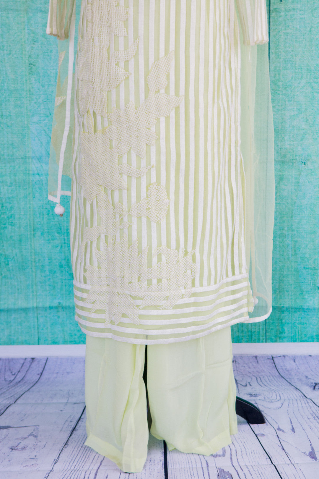 501073-suit-long-sleeve-pale-green-white-striped-scarf-skirt-view