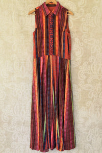 Buy stunning multicolor printed linen maxi dress online in USA. Choose from an exclusive collection of Indian designer suits, Anarakali dresses, palazzo suits, salwar suits, designer gowns, readymade dupatta, sharara suits from Pure Elegance Indian clothing store in USA.-full view