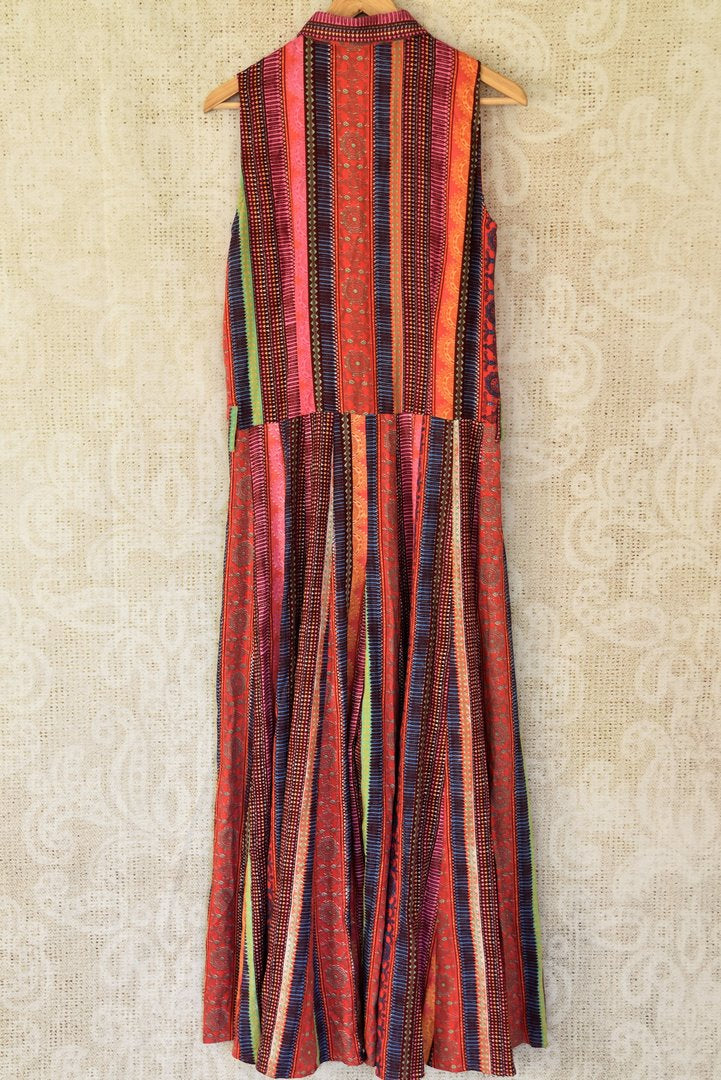 Buy stunning multicolor printed linen maxi dress online in USA. Choose from an exclusive collection of Indian designer suits, Anarakali dresses, palazzo suits, salwar suits, designer gowns, readymade dupatta, sharara suits from Pure Elegance Indian clothing store in USA.-back