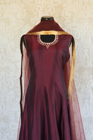 501085-suit-sleeveless-maroon-gold-embroidery-scarf-top-view