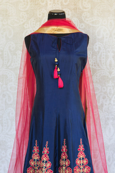 501086-suit-sleeveless-blue-fuchsia-gold-embroidery-floral-pattern-scarf-top-view