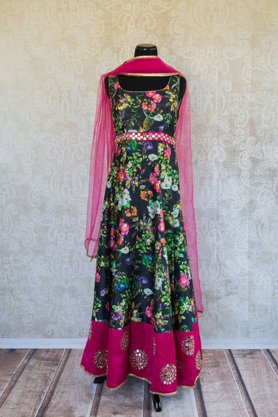 501091-suit-sleeveless-black-floral-print-fuchsia-gold-glass-accent