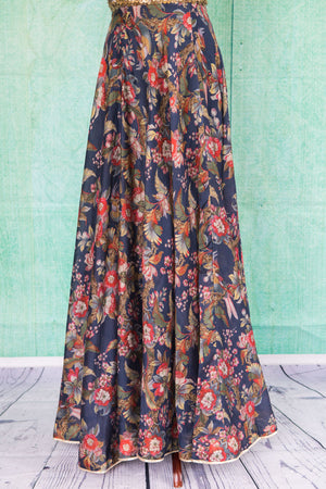 501094-suit-sleeveless-gold-and-blue-sequin-blouse-with-dark-blue-and-red-floral-print-skirt-view