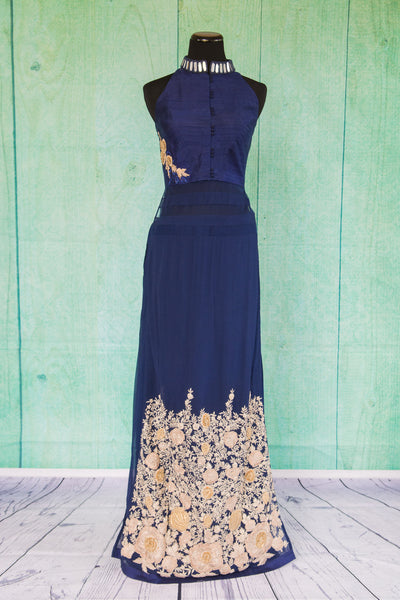 501097-suit-sleeveless-dark-blue-gold-embroidered-floral-trim