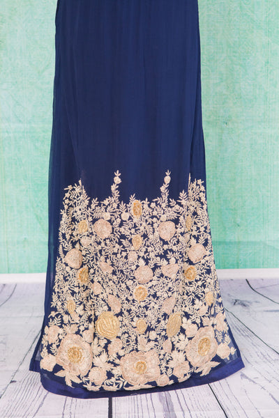 501097-suit-sleeveless-dark-blue-gold-embroidered-floral-trim-skirt-view