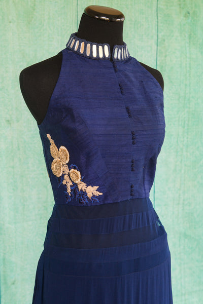 501097-suit-sleeveless-dark-blue-gold-embroidered-floral-trim-top-alternate-view