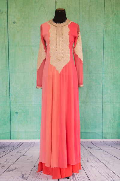 501099-suit-long-sleeve-pink-coral-pearl-collar-lace-embroidery