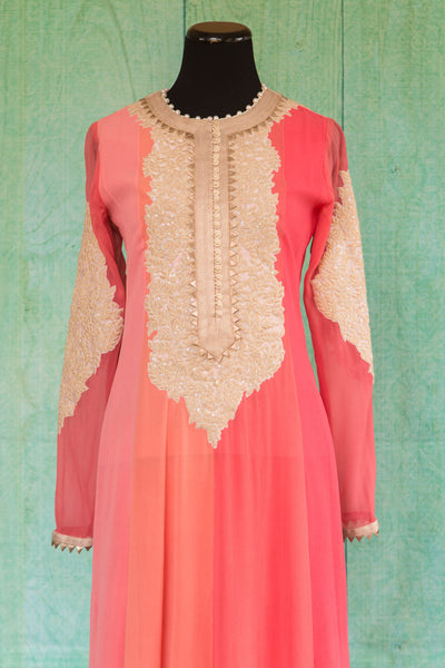 501099-suit-long-sleeve-pink-coral-pearl-collar-lace-embroidery-top-view