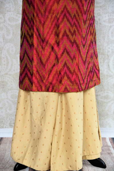 Shop Red and Magenta Ikat Raw Silk Kurta with Gold Palazzo Pants online at our ethinc clothing store Pure-Elegance in USA. Ideal for sangeet, party wear, and bridesmaid dress