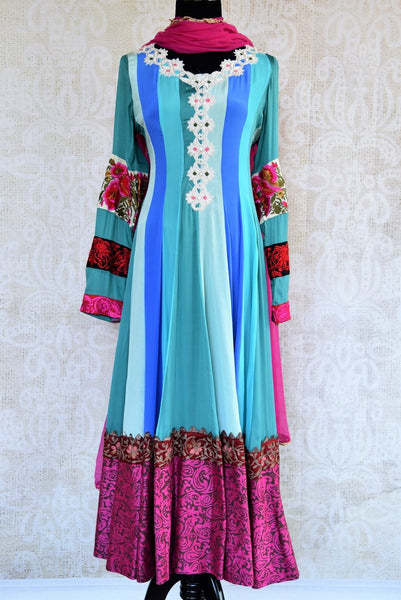 Buy blue striped embroidered Anarkali suit online in USA. Pure Elegance fashion store brings an exqusite range of  Indian designer Anarkali suits in USA for women. -full view