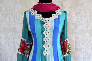 Buy blue striped embroidered Anarkali suit online in USA. Pure Elegance fashion store brings an exqusite range of  Indian designer Anarkali suits in USA for women. -front