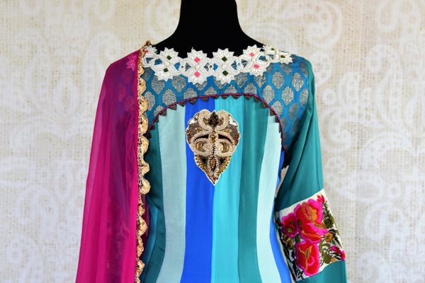 Buy blue striped embroidered Anarkali suit online in USA. Pure Elegance fashion store brings an exqusite range of  Indian designer Anarkali suits in USA for women. -back