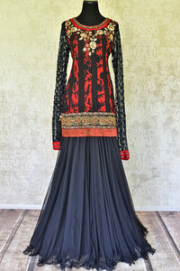 Buy red and blue printed and embroidered skirt set online in USA from Pure Elegance Indian fashion store in USA. Make a stylish fashion statement this summer with a range of exquisite Indian designer dresses available online and at our clothing store in USA. Shop now.-full view
