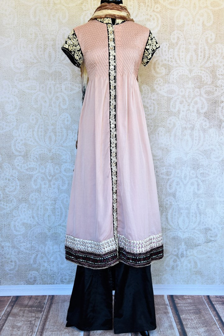 Buy beige chanderi embroidered kurta with palazzo online or from our store in USA. Pure Elegance fashion store brings an exclusive range of Indian suits in USA for parties. -full view