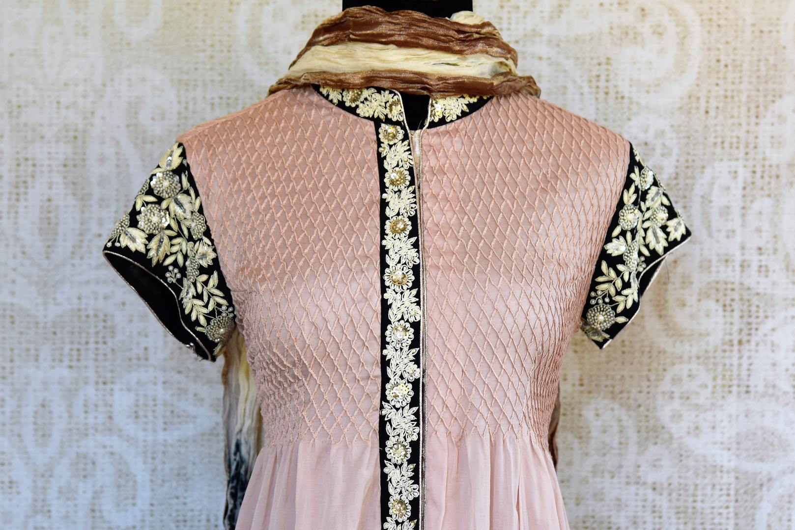 Buy beige chanderi embroidered kurta with palazzo online or from our store in USA. Pure Elegance fashion store brings an exclusive range of Indian suits in USA for parties. -front