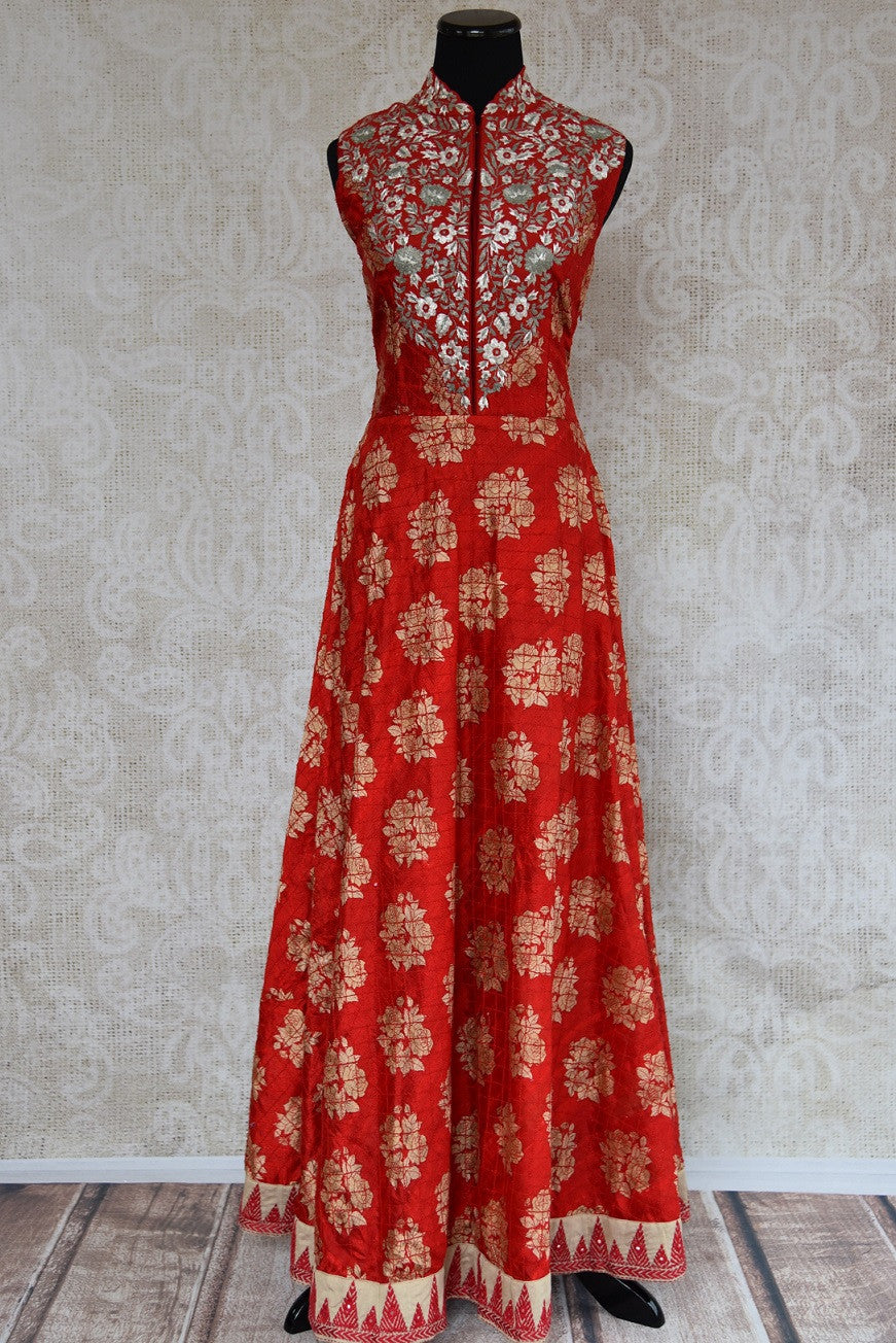 501144 Ethnic red suit for women with traditional Indian patterns & designs. Buy this silk suit with exquisite silver hand embroidery online at our store in USA - Pure Elegance.