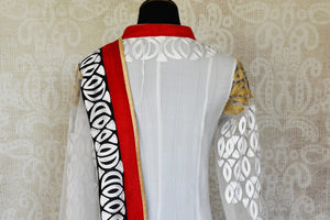 Buy white embroidered net Anarkali suit online in USA with red and black border from Pure Elegance. Choose from a range of exclusive Indian designer suits, wedding dresses, Anarkali suits in beautiful styles and designs from our Indian fashion store in USA and flaunt your tasteful sartorial choices on special occasions.-back