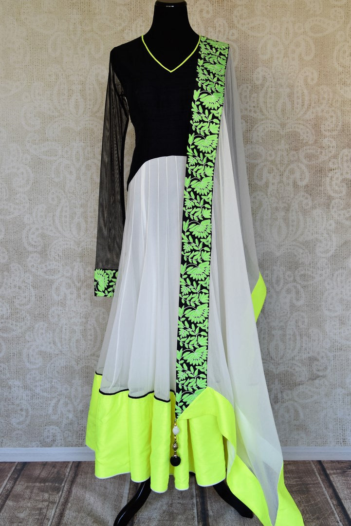 Shop black and white embroidered net floor length Anarkali suit online in USA with green border from Pure Elegance. Choose from a range of exclusive Indian designer suits, wedding dresses, Anarkali suits in beautiful styles and designs from our Indian fashion store in USA and flaunt your tasteful sartorial choices on special occasions.-full view