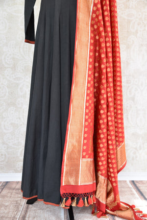 Black solid Suit with red trim on edge and Banarasi dupatta. Perfect suit for Indian parties and festivals.-banarasi dupatta