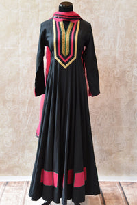 Classy and Elegant look black designer Indian cotton anarkali chudidar with net dupatta available at our store Pure Elegance, perfect for all Indian events-full view