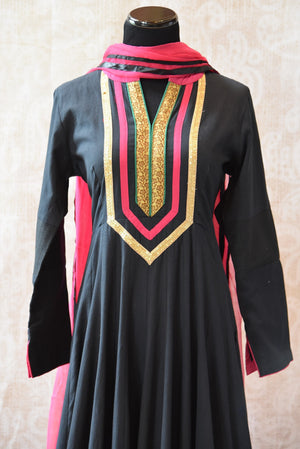 Classy and Elegant look black designer Indian cotton anarkali chudidar with net dupatta available at our store Pure Elegance, perfect for all Indian events-close up