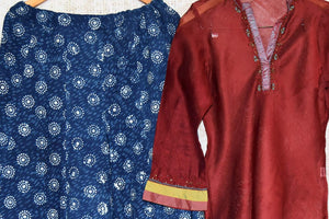 Buy red kurta with blue printed palazzo online at USA at Pure Elegance Indian fashion store. Find your stylish Indian formal dresses in exquisite designs for women.-full view