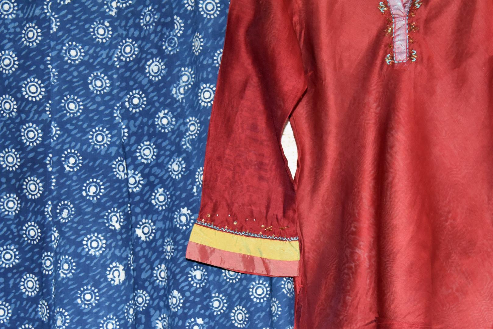 Buy red kurta with blue printed palazzo online at USA at Pure Elegance Indian fashion store. Find your stylish Indian formal dresses in exquisite designs for women.-closeup