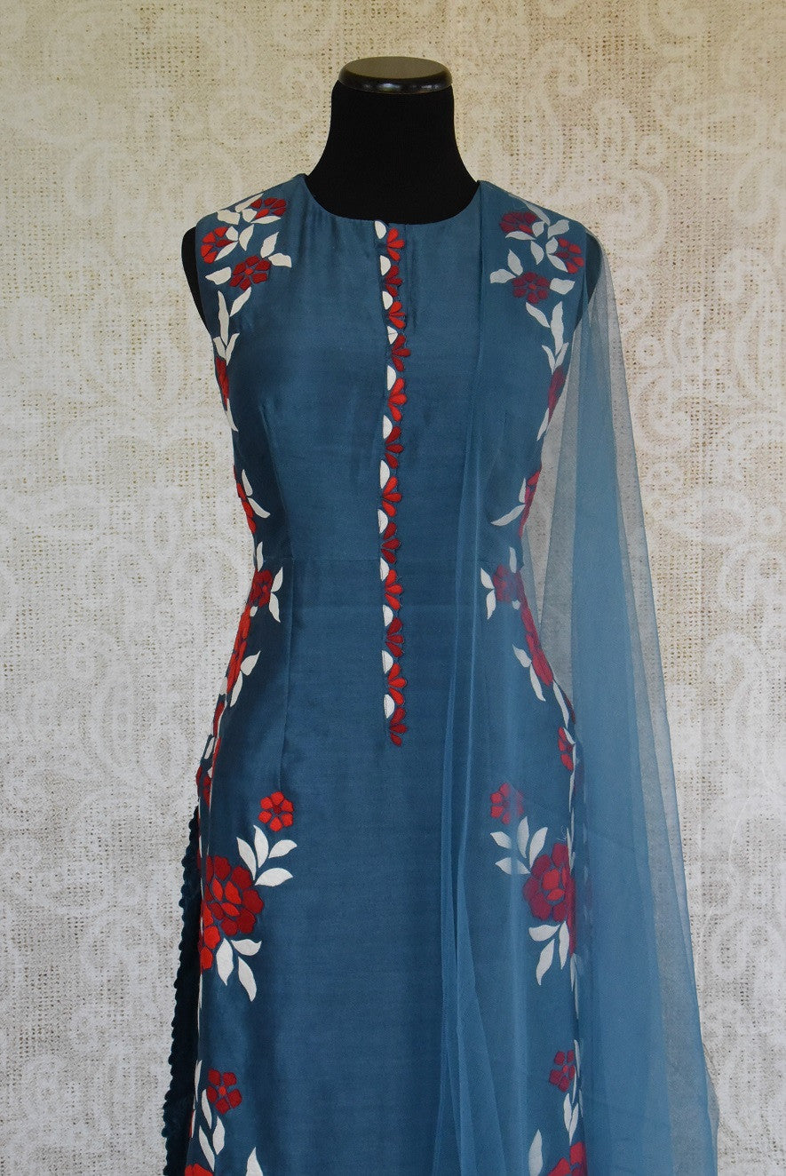 501250 Blue Chanderi Suit With Floral Applique